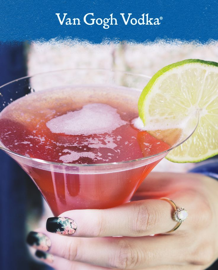 Add a pop of pomegranate to your cocktail with this Pom Cosmo. 1½ oz. Van Gogh Pomegranate Vodka, 4 oz. cranberry juice, ½ oz. triple sec and ½ oz. lime juice. Add all ingredients to a mixing glass with ice and shake vigorously. Strain into a chilled martini glass. Garnish with a lime wedge.