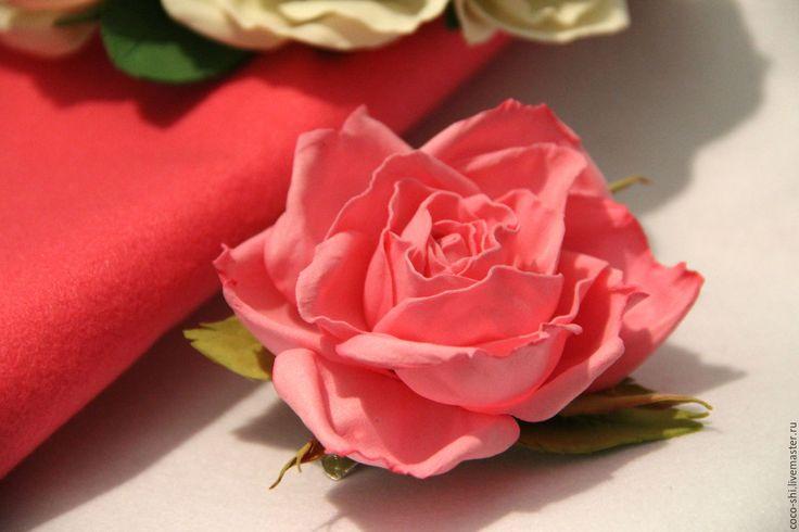 """Купить """"Утренняя роза"""" Брошь из фоамирана . Ручная работа. - украшение, украшение ручная работа"""