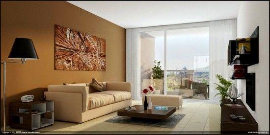 :D parede, quadro, mesa de centro, tons marrons.
