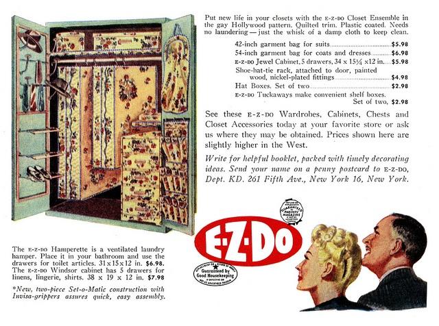 Put new life into your closets with the E-Z Do Closet Ensemble. vintage organization 1940s