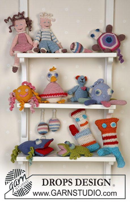 """DROPS Roliga leksaker virkade av restgarn i """"Safran"""" eller """"Muskat"""" ~ DROPS Design"""