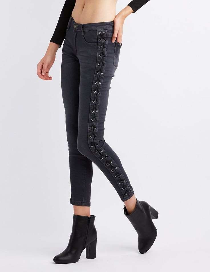 Whiskering and fading adds that vintage feel we love on these charcoal denim jeans, in a stylish low-rise shape! Skinny strings weave through metal grommets, for a fun and flirty lace-up detail at the sides, while skinny legs taper at the ankle for a figure flattering shape! four patch pockets and a coin pouch at the hip are the perfect place to stash some stuff!Zip fly with top buttonFive pocket cutBrands We Love: Machine Jeans
