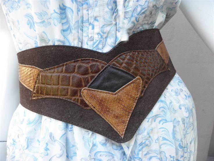 FAiTH Wide Applique Suede & Leather Dress BELT S/M Stud Fastening