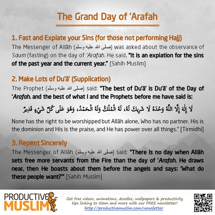 The 9th day of Dhul-Hijjah is the day of 'Arafah when the pilgrims gather to perform the most important ritual in Hajj. It's a day full of blessings, so will you spend it productively? Fast to wash away your sins and encourage others too :)