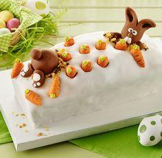 Wenn doch nur jeder Kuchen so lebhaft wäre, wie dieser! Solche süßen Fondant-Häschen könnt selbst auch machen - im Link erfahrt ihr, wie's geht!
