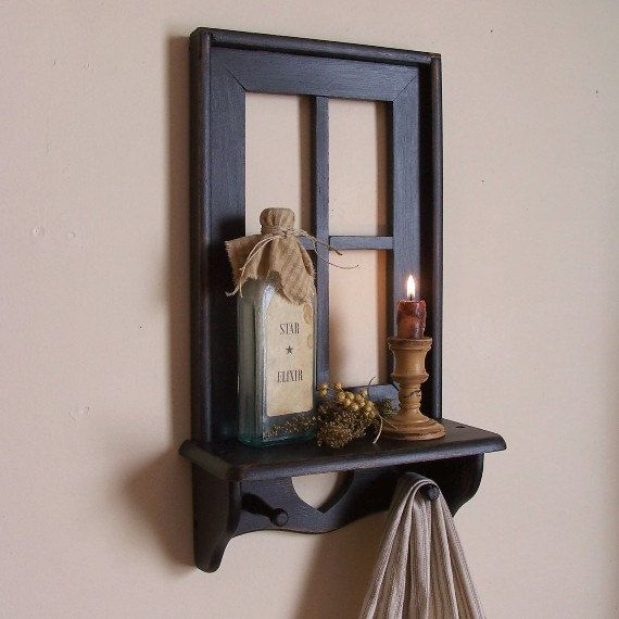Primitive Window Shelf Gathering / Lamp Black / Old Bottle Drieds  Candlestick / Farmhouse Collection By Sawdusty
