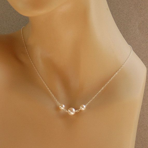 Bridesmaid Necklace, Pearl Necklace - Bridal Jewelry, Wedding Jewelry - Swarovski Pearls in Sterling Silver - The Small White Vows Necklace on Etsy, $28.98 CAD