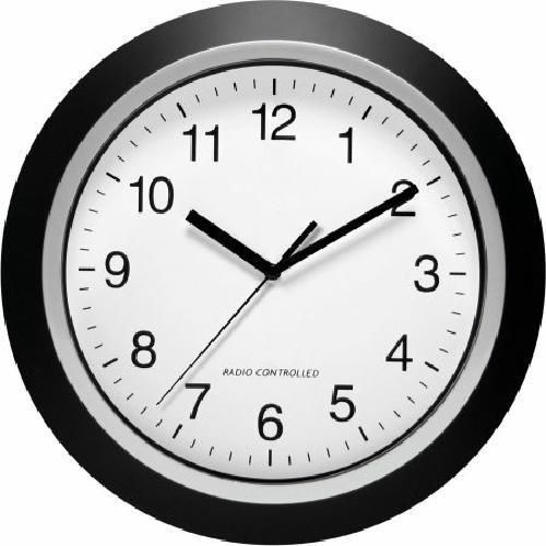 """Better Homes and Gardens 10"""" Atomic Automatic Set Analog Indoor Wall Clock Black"""