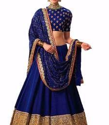 Buy Blue and golden embroidered bhagalpuri unstitched lehenga choli lehenga-choli online