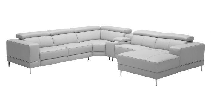 Bergamo Extension Motion Sofa Light Gray Contemporary Modern