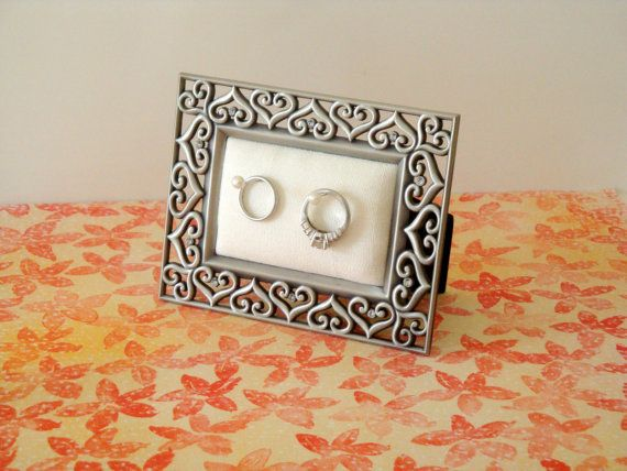 Wedding ring holder rectangle silver hearts frame by Petite25, $18.00