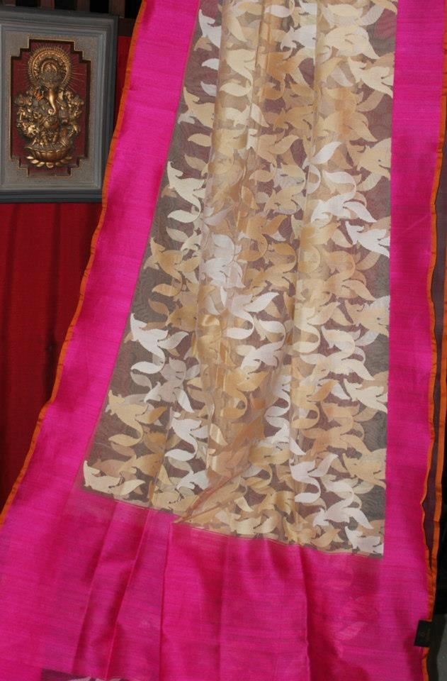 Pink Jute Net #Saree  To order mail us at fashionsblossom@gmail.com