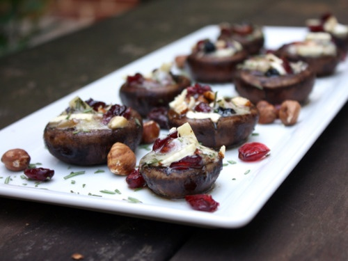 Rosemary, Brie and Hazelnut Stuffed Mushrooms