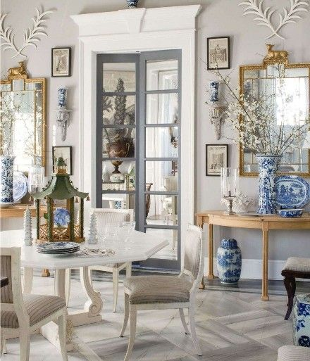 Furlow Gatewood - According to the foo dog: MORE. IS MORE. Especially when it comes to Chinese blue and white porcelain. And gold gilt mirrors. And delicious symmetry. And fabulous mouldings. And that green pagoda folly on the table.