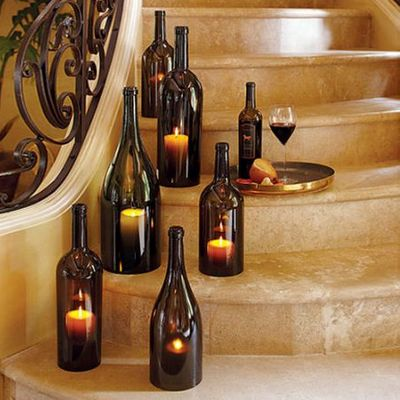 : Decor, Ideas, Candles Holders, Wine Bottle Candles, Glasses Bottle, Wine Bottles, Winebottl, Cut Glass, Crafts
