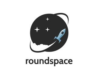 http://www.brandcrowd.com/logo-design/details/147741 retro rocket circling around the known universe