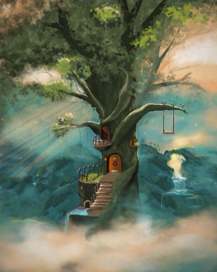 Paysage fantastique, arbre, fantasy