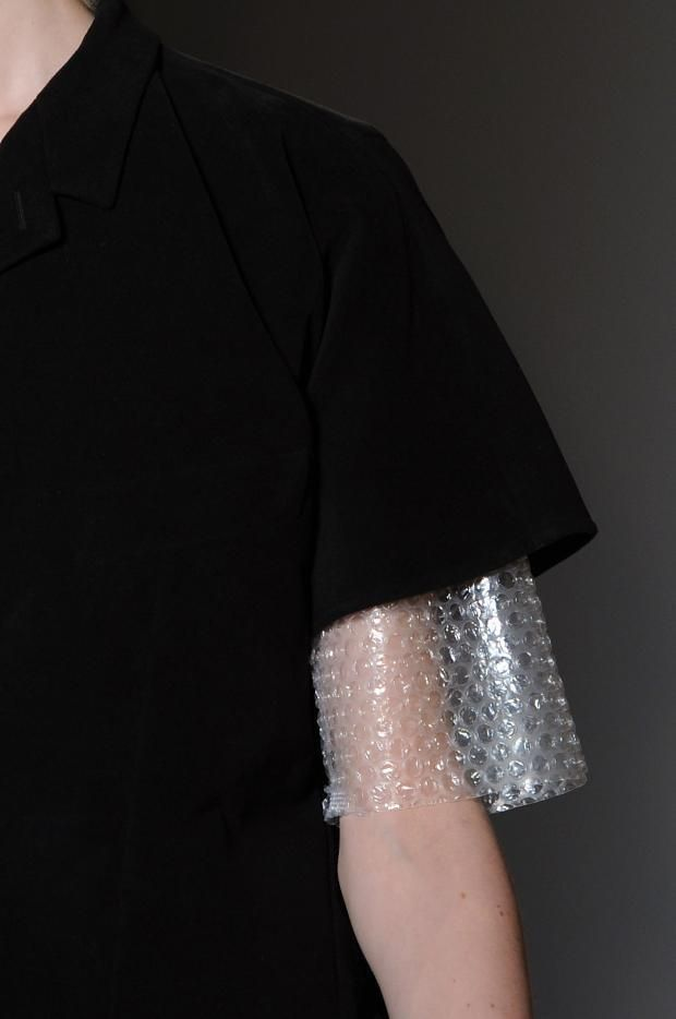 Bubble Wrap Sleeve - unexpected fashion details; unconventional material mix // Maison Martin Margiela AW14