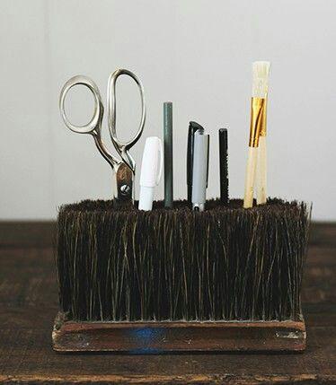 Old broom head Desk caddy