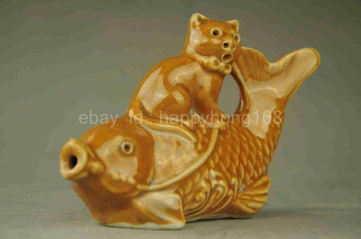 Китайский буддизм фарфор кот езды рыба благоприятный счастливый статуя капли воды   размер: 120x80mm вес: 129 g