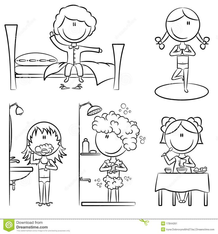 Coloring Pages Of Waking Up. Photo about Daily Morning Girls Life including wake up  yoga teeth cleaning shower and breakfast 17844261 18 best Clip art used in prep images on Pinterest