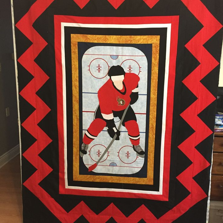 Hockey quilt - Ottawa Senators Appliqued hockey player pattern by Glendora's girl