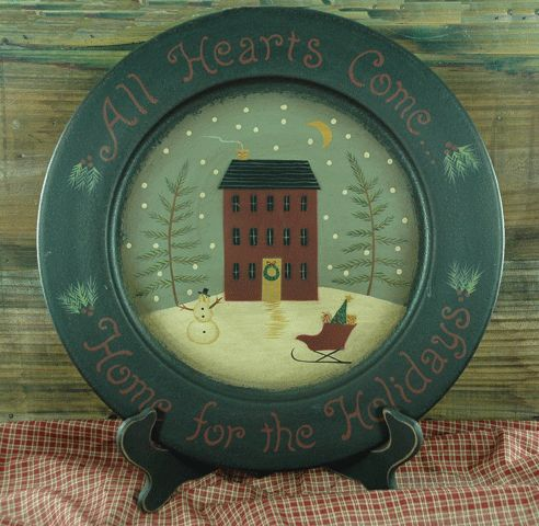 WOODEN PLATE AND STAND Primitive House -Country Wood Plate Holder Holiday Winter & 11 best primitive dishes images on Pinterest | Primitive plates ...