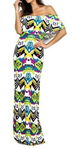 bcafdcf821 Cruiize Women Sexy Off Shoulder Bodycon Ruffles Print Long Dress Green S