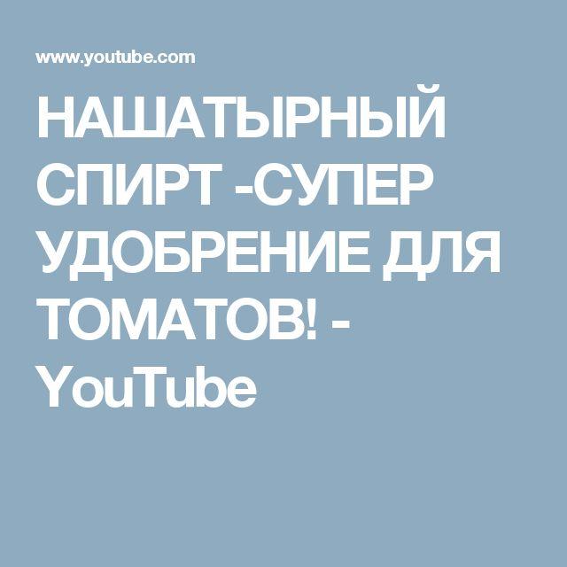 НАШАТЫРНЫЙ СПИРТ -СУПЕР УДОБРЕНИЕ ДЛЯ ТОМАТОВ! - YouTube