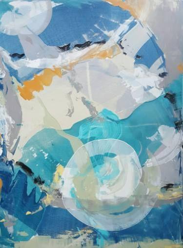 "Saatchi Art Artist Twyla Gettert; Painting, ""Cirrus Cloud II, Blue Grey Abstract"" #art"