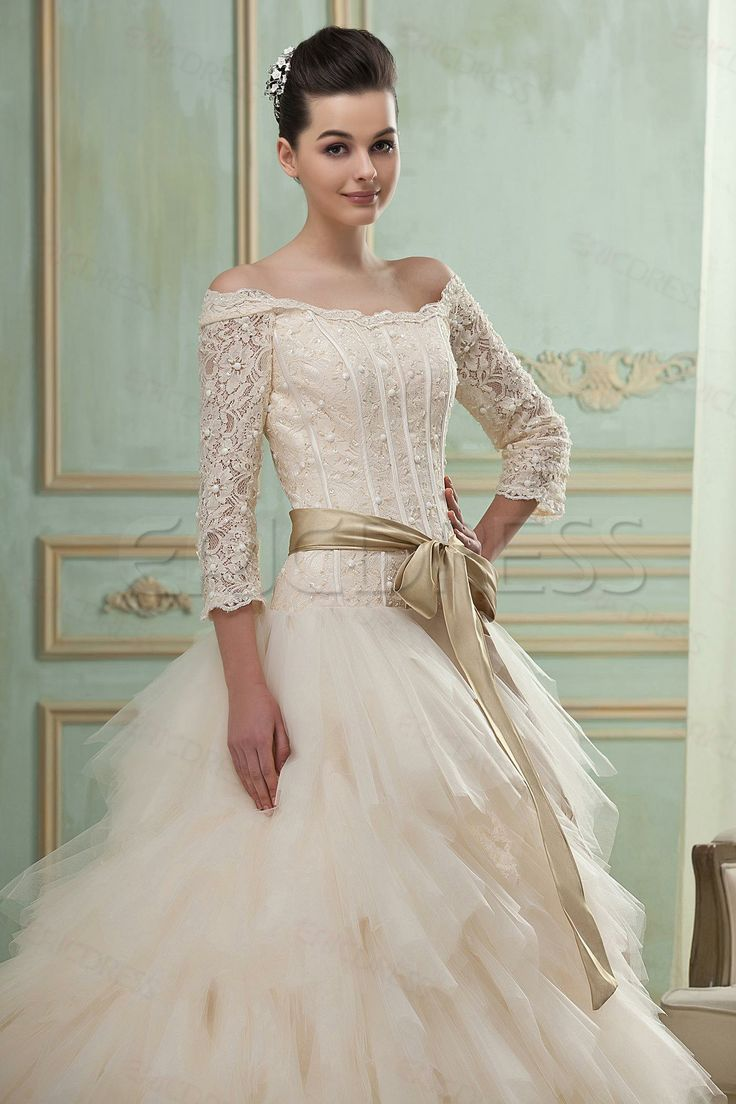 Gorgeous A-Line/Princess off-the-Shoulder 3/4-Length Sleeves Chapel Tiered Wedding Dress Wedding Dresses 2014- ericdress.com 10402826