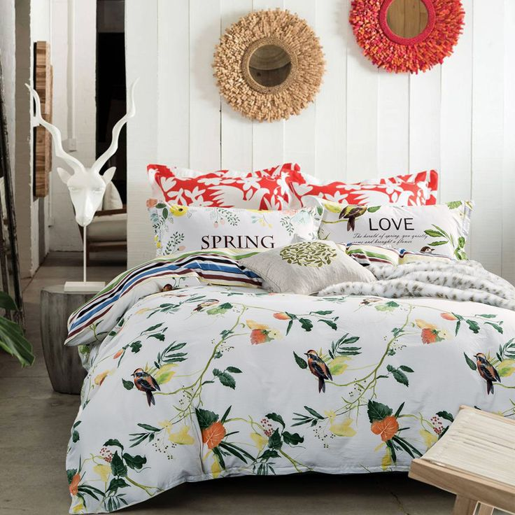 pastoral bird print 100% Cotton Bedding set 3pc/4pc/5pc Fitted/Flat sheet pillowcase Duvet cover twin queen king double size