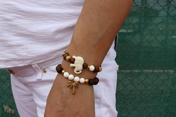 Pineapple Bracelet, Pineapple Beaded Bracelet, Women's Beaded Bracelet, Elephant Bracelet, Elephant Beaded Bracelet, Gift for Her.