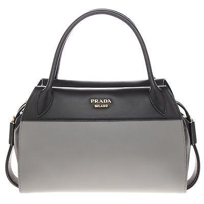 Prada Woman s Bowling Ribbon Leather Bag Black and Grey   bag ... ee87d9b33f
