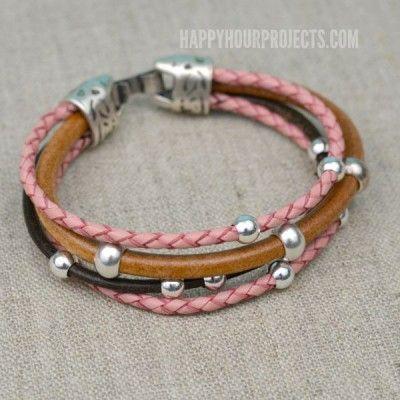Easy Beaded DIY Leather Bracelet   Happy Hour Projects   Bloglovin'