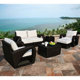 Corvus Settina Outdoor 6 Piece Dark Brown Wicker Sofa Set With Sunbrella  Cushions By Corvus