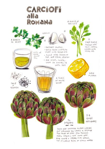 illustrated recipes: carciofi alla romana by Felicita Sala