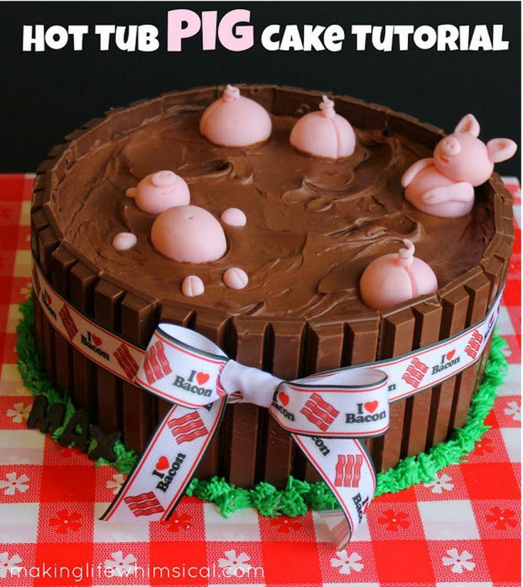 hot tub pig kit kat cake tutorial