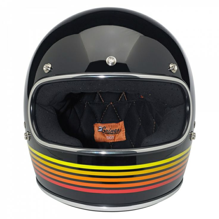 Biltwell Gringo LE Helmet: Spectrum Black/Orange— Injection-molded ABS outer shell with hand-painted finish •Expanded polystyrene inner shell •Hand-sewn removable brushed Lycra liner with contrasting diamond-stitched quilted open-cell foam padding •Meets DOT safety standards •Internal BioFoam chin pad with hand-sewn contrast stitching •Rugged plated steel D-ring neck strap with adjustment strap end retainer •Rubber or chrome accent edging on shell and eye port •XS through XXL sizes–$189.95
