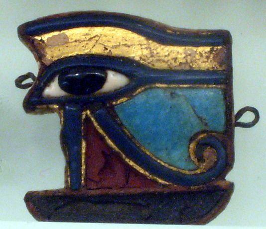 Wedjat Eye Amulet  --  664-30 BCE  --  Late Ptolemaic Period  --  Wood, glass, plaster, gold & copper (or copper alloy)  --  Metropolitan Museum of Art