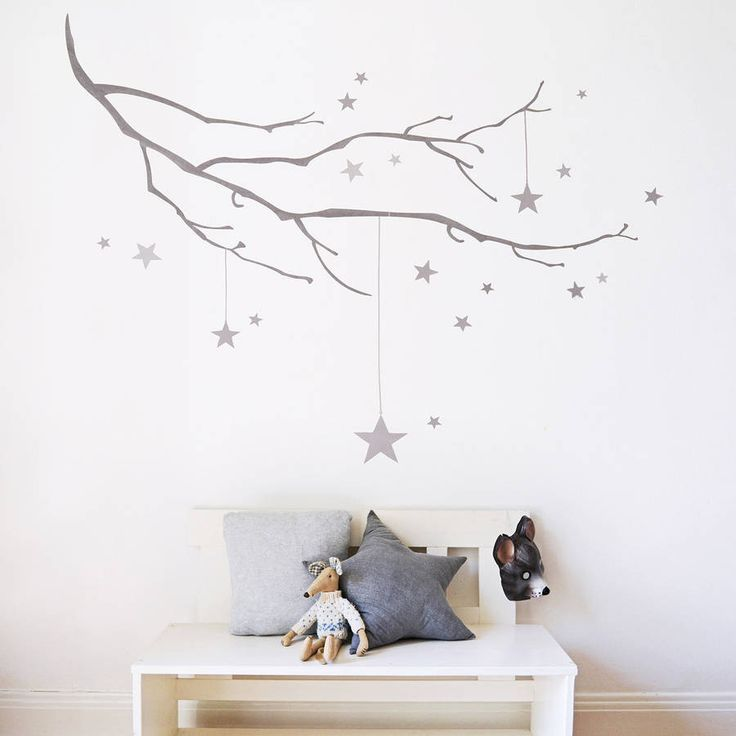 Winter branch with stars fabric wall sticker nursery stickerswall stickers baby