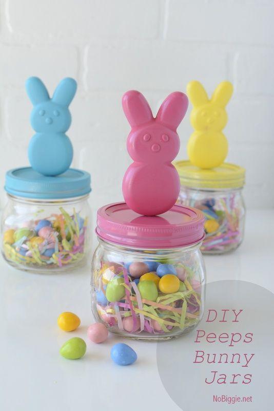 219 best nobiggie diy projects printables images on pinterest diy peeps bunny candy jars easter peepseaster gifthappy negle Gallery