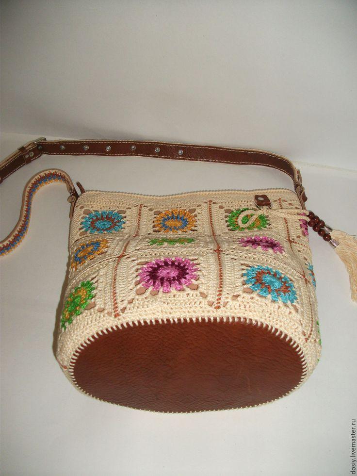 Купить вязаная сумка-торба, бабушкин квадрат - белый, абстрактный, сумка…