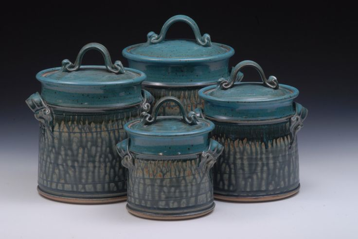 Stoneware Canister Set. Wheel Thrown. 4 Piece Set by mfitzgeraldpottery on Etsy https://www.etsy.com/listing/215353833/stoneware-canister-set-wheel-thrown-4