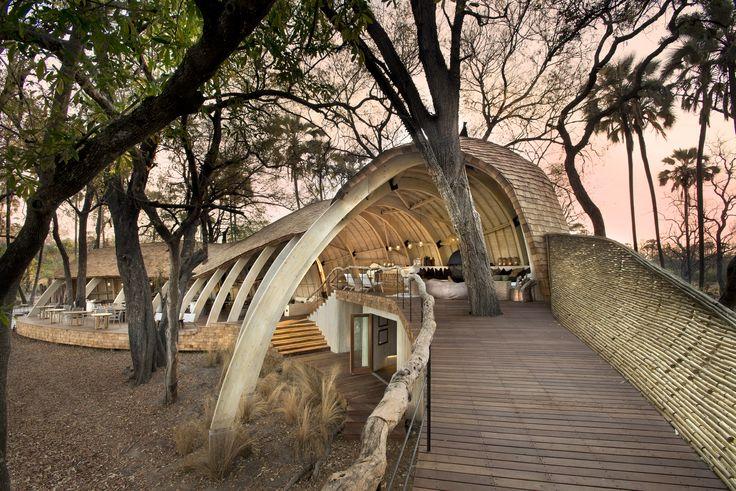 Our Sandibe Lodge Main Area - Timber portal beams, shingles and lath screens