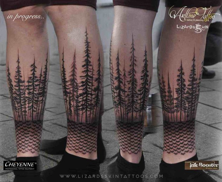 tree tattoo leg sleeve