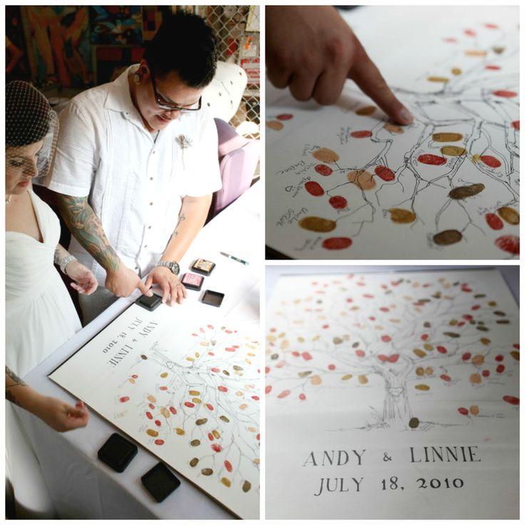 Original Hand-drawn Fingerprint Tree Wedding Guest Book Alternative