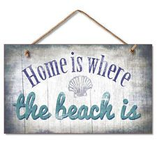 New Faded Wood Sign HOME IS WHERE THE BEACH IS Plaque Coastal Nautical Wall Art