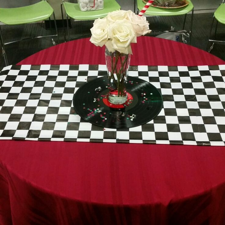 Centerpiece Using Vinyl Record Music Confetti Milkshake