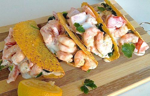 Taco's met romige garnalen